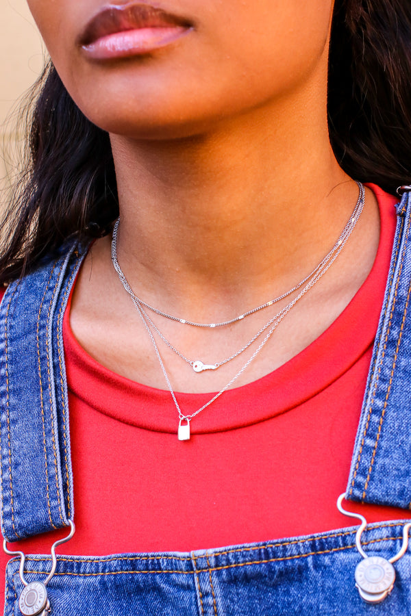 Silver Style is Key Lock Layered Necklace - Madison and Mallory