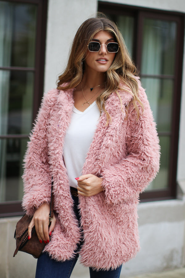 Mauve / S Requested Chic Faux Fur Jacket - Madison + Mallory