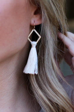 Ivory Lost Horizon Geometric Tassel Drop Earrings - Madison and Mallory