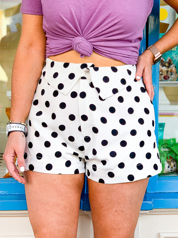 S / White Party for One Polka Dot Shorts - Madison + Mallory