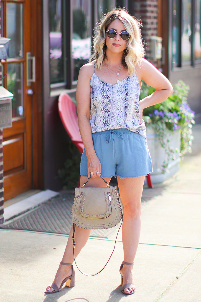 Vintage Blue Tie Shorts - Madison + Mallory