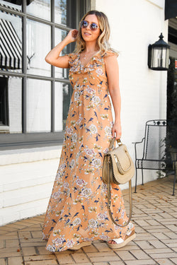 S / Taupe Sweetest Hour Floral Ruffled Maxi Dress - FINAL SALE - Madison + Mallory