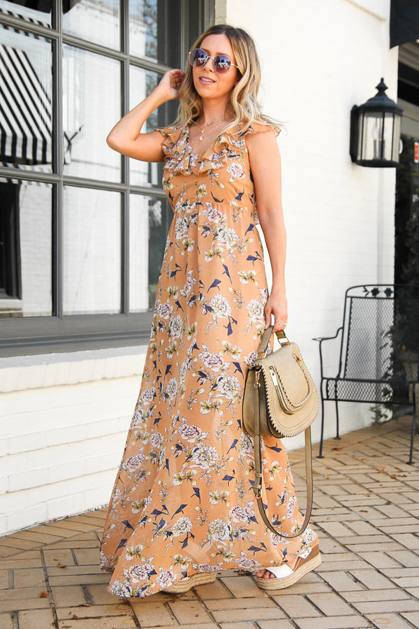 S / Taupe Sweetest Hour Floral Ruffled Maxi Dress - Madison + Mallory