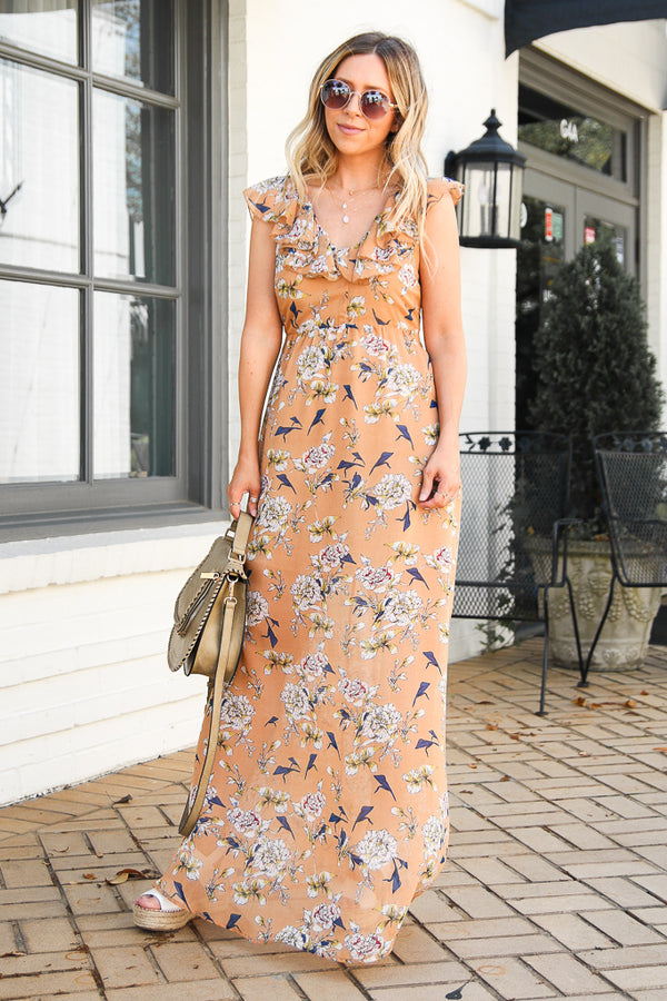 Sweetest Hour Floral Ruffled Maxi Dress - FINAL SALE - Madison + Mallory