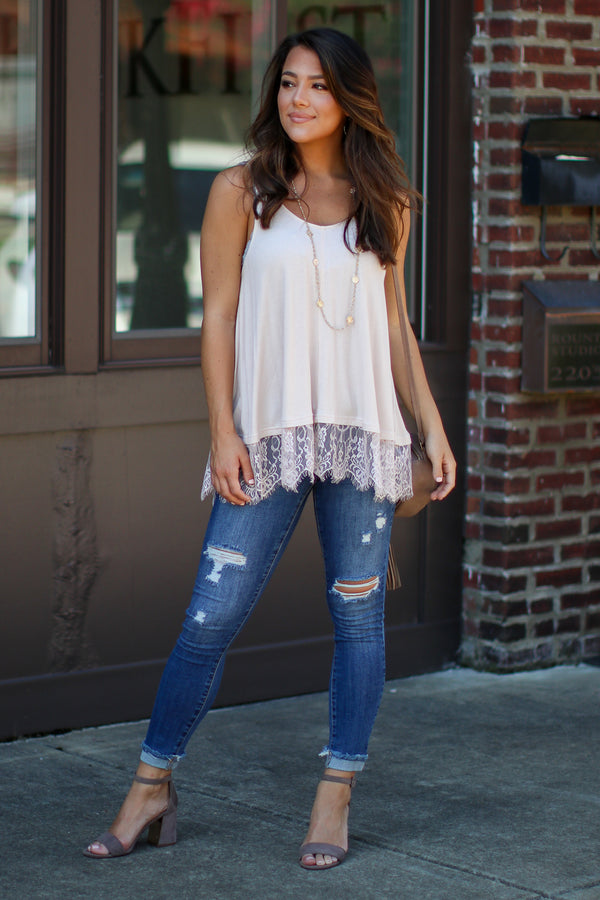Emilia Lace Hem Swing Tank - Nude - Madison + Mallory