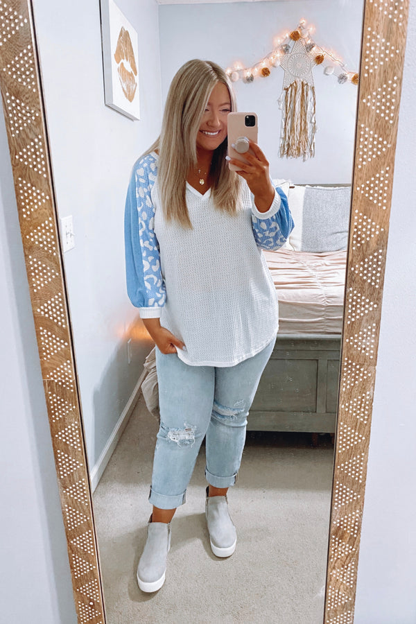 S / Light Blue Say You Will Contrast Color Block Sleeve Top - Madison and Mallory