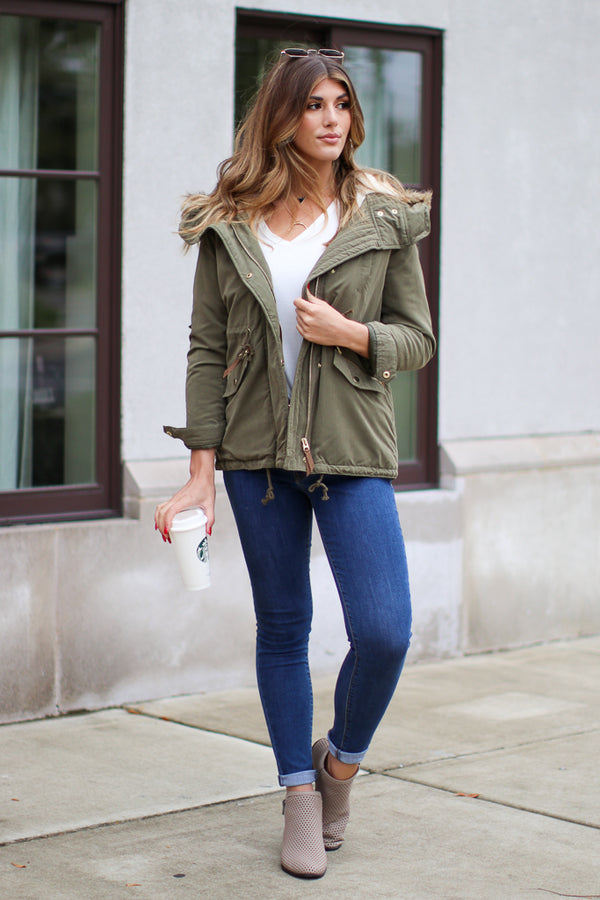 Snow Flurries Zip Up Jacket - Madison + Mallory