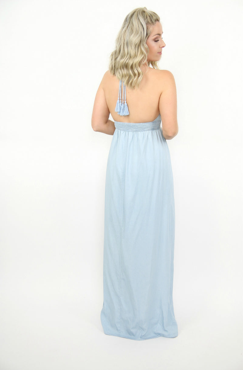Chambray Tassel Trim Maxi Dress - Madison + Mallory