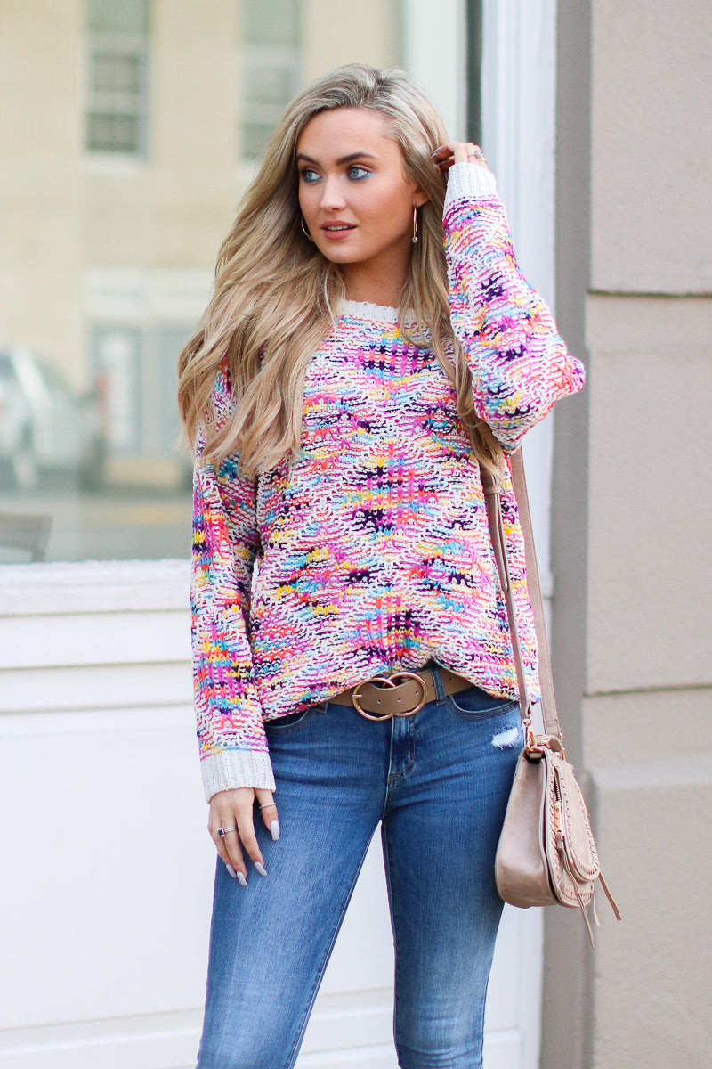S / Pink Truth Hurts Multi Color Knit Sweater - Madison + Mallory