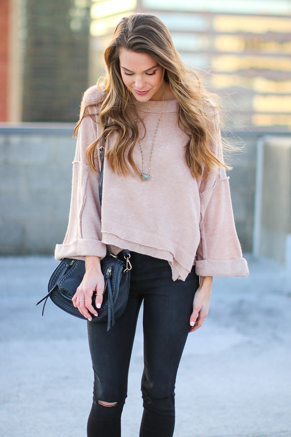 S / Natural Lonnie Slouchy Knit Top - Madison + Mallory