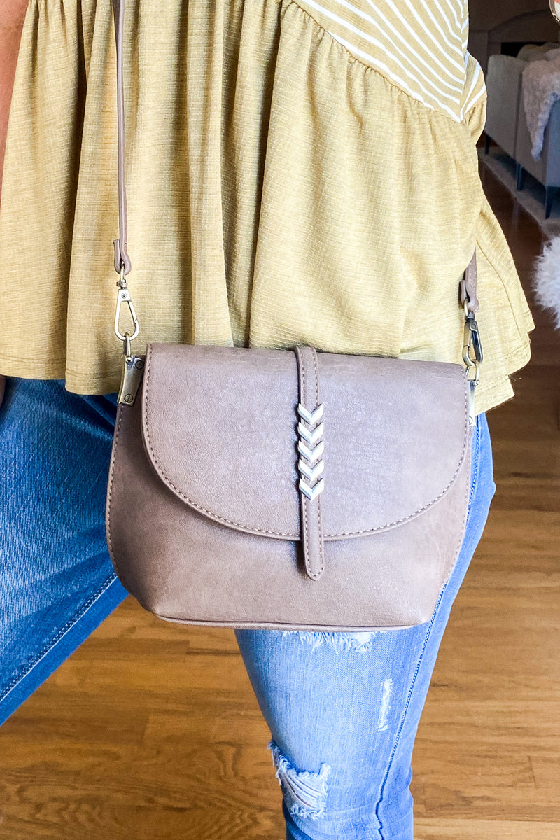 Indra Chevron Accent Crossbody Bag - Madison and Mallory