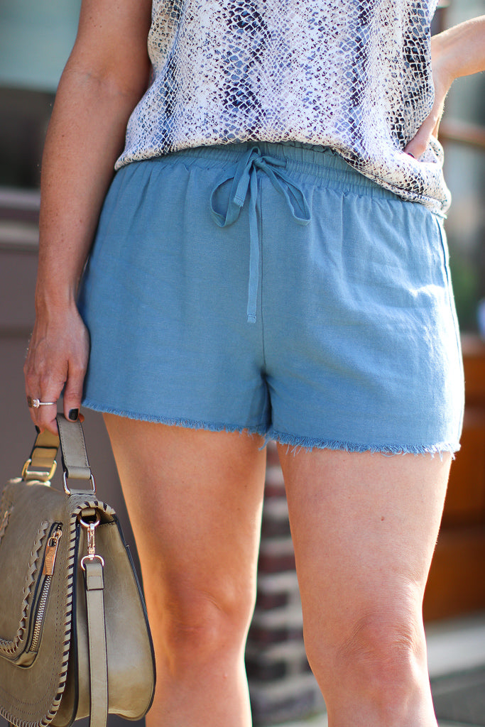 S / LightDenim Vintage Blue Tie Shorts - Madison + Mallory