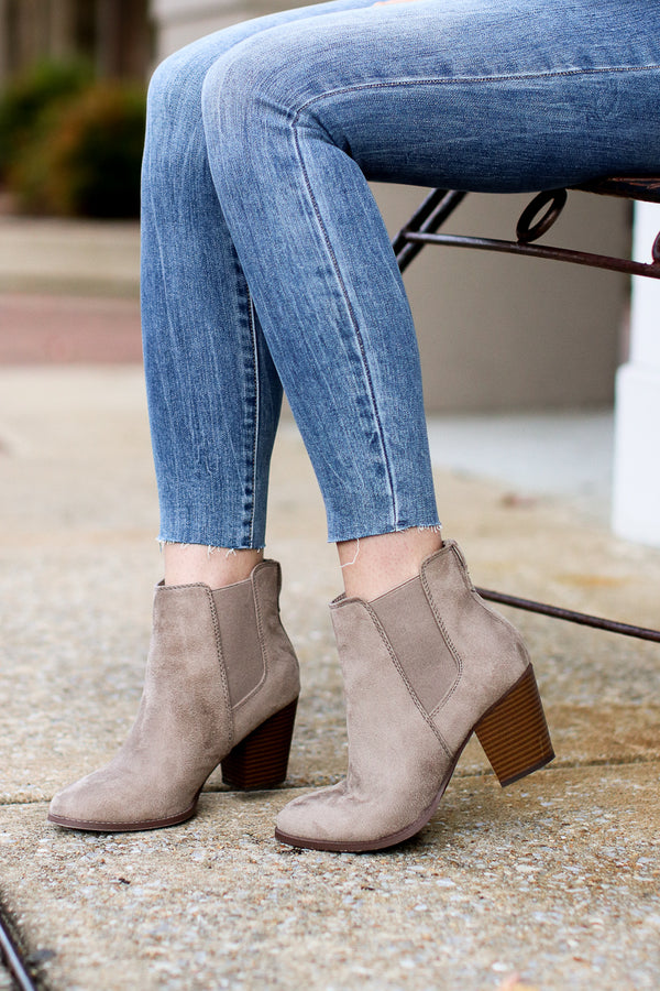 5.5 / Clay Delacour Faux Suede Booties - Madison + Mallory