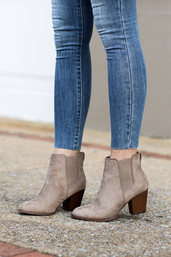 Delacour Faux Suede Booties - Madison + Mallory