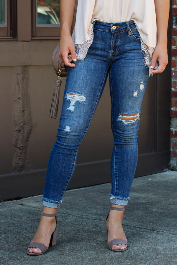Here Again Distressed Cuffed Jeans - Madison + Mallory