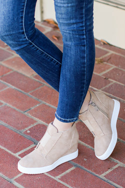Rodina Wedge Sneaker - Taupe - Madison and Mallory