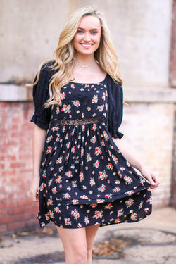 S / Black Praise Floral Embroidered Dress - Madison and Mallory