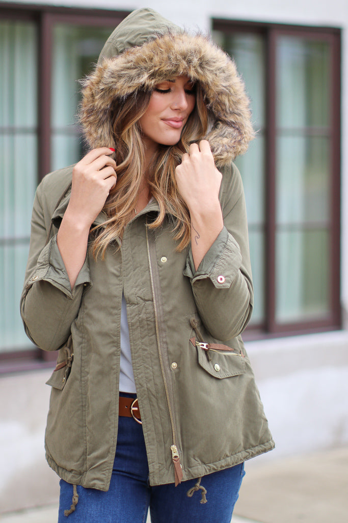 S / Olive Snow Flurries Zip Up Jacket - Madison + Mallory