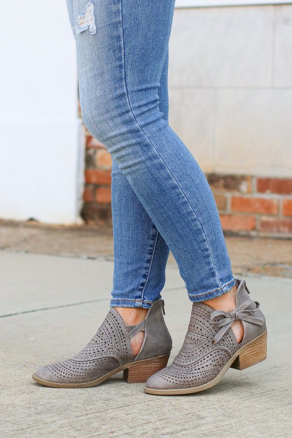 6.5 / Gray Cici Side Bow Laser Cut Booties - FINAL SALE - Madison + Mallory
