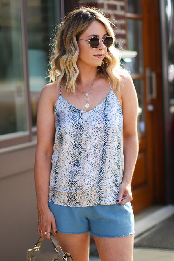 S / Blue Chances Are Snake Printed Top - FINAL SALE - Madison + Mallory
