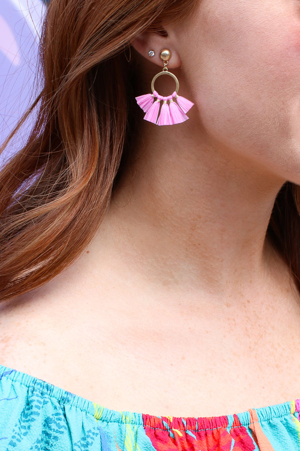 Pink Adalira Raffia Fan Drop Earrings - Madison + Mallory