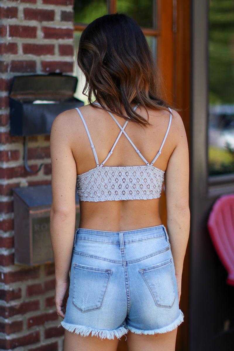 Evangeline Scallop Lace Bralette - Gray - Madison + Mallory