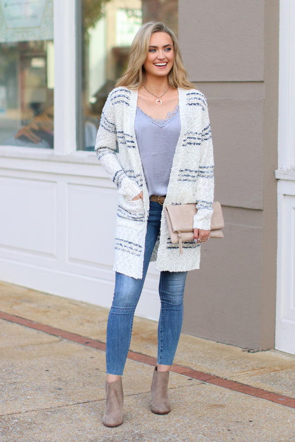 There You Go Again Striped Knit Cardigan - Madison and Mallory