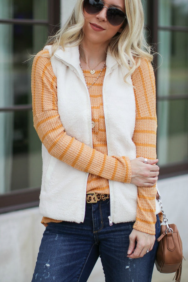 S / White Let it Snow Fuzzy Vest - Madison + Mallory