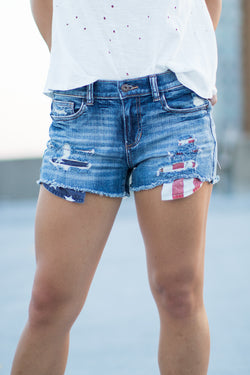 S / Md. Wash American Flag Pocket Distressed Shorts - Madison + Mallory