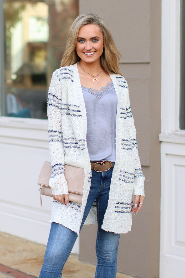 S / Ivory There You Go Again Striped Knit Cardigan - Madison and Mallory