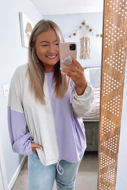 S / Lilac Vaiden Color Block Top - Madison and Mallory