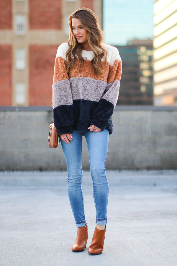 Forget About the Rest Color Block Sherpa Pullover - Madison + Mallory