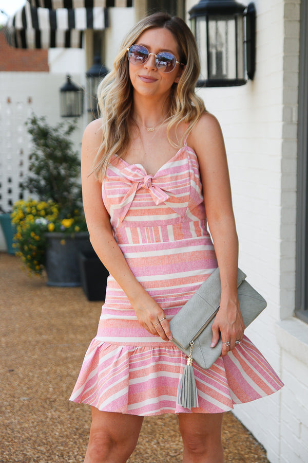 S / Coral Sunny Sensation Striped Ruffle Dress - FINAL SALE - Madison + Mallory