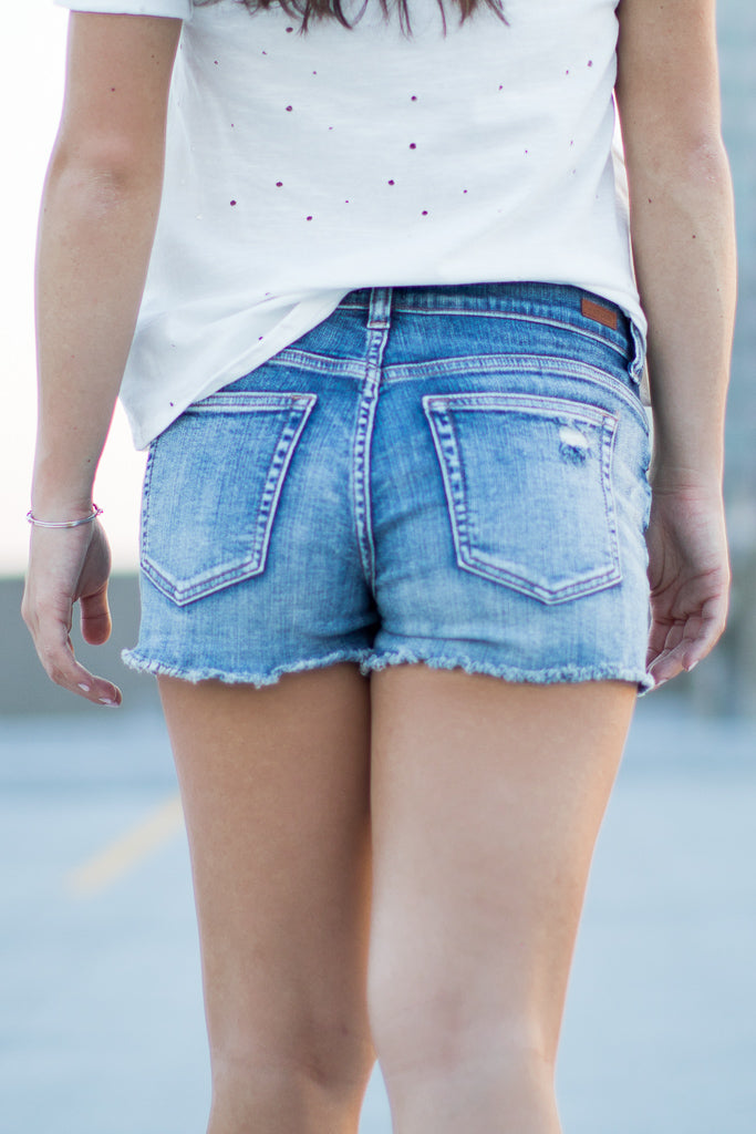 American Flag Pocket Distressed Shorts - Madison + Mallory