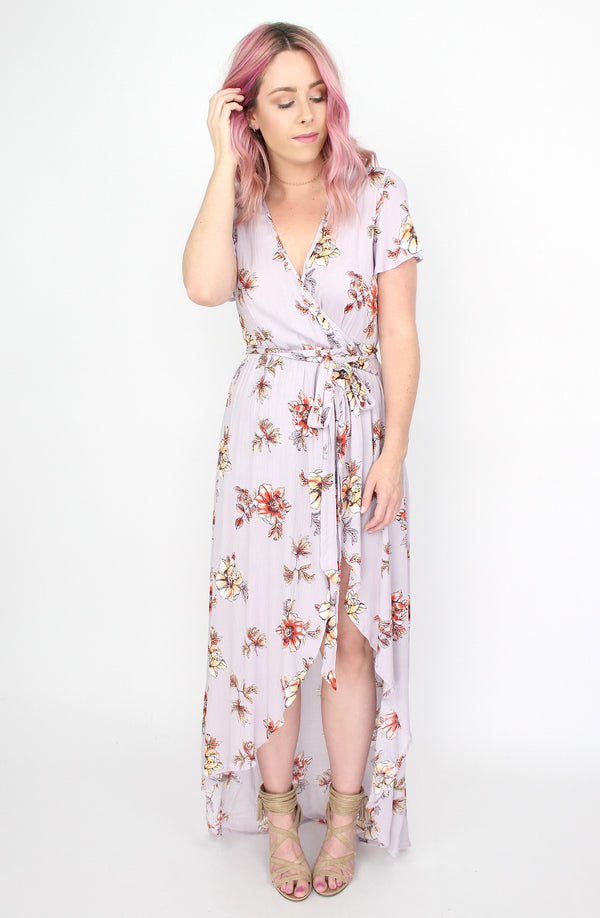 Lilac Floral Wrap Maxi Dress - Madison + Mallory