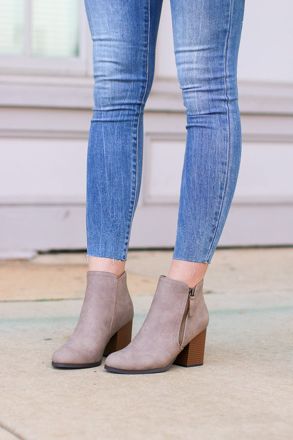 Nob Hill Zipper Booties - Taupe - Madison + Mallory