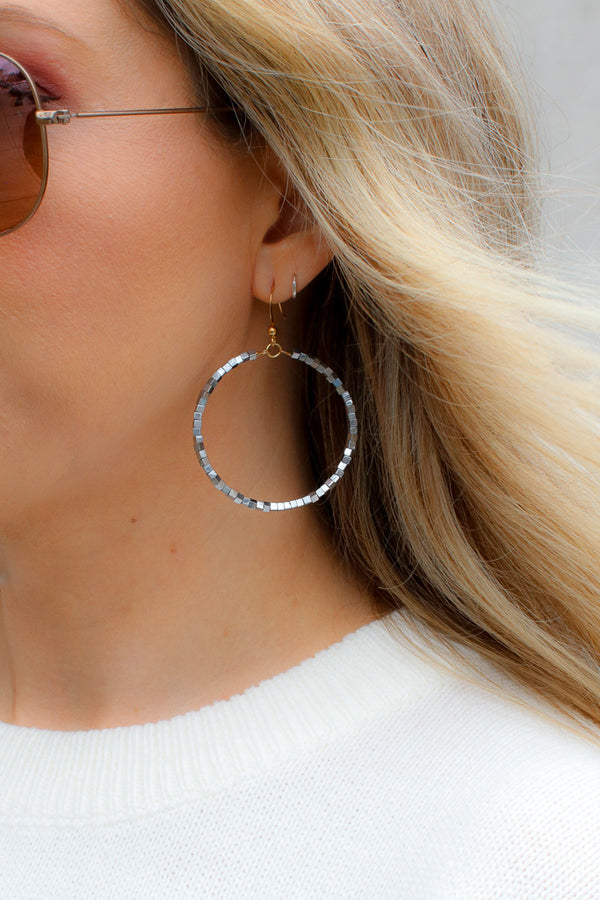OS / Silver Falling Fast Beaded Earrings - Madison + Mallory