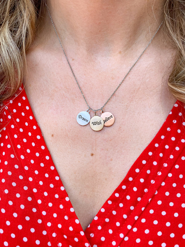 OS / Multi Wish, Dream, Believe Charm Necklace - Madison + Mallory