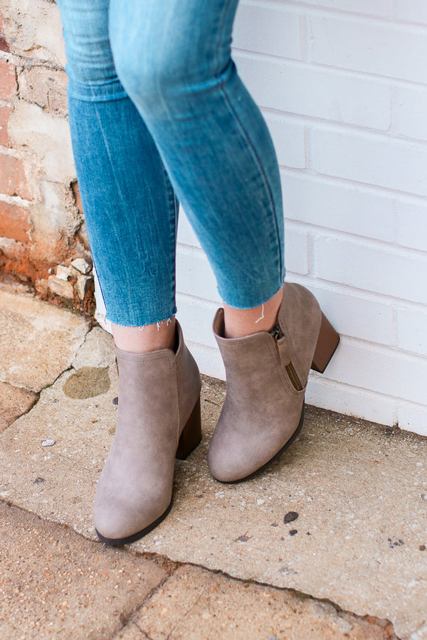 Taupe / 5.5 Nob Hill Zipper Booties - Taupe - Madison + Mallory