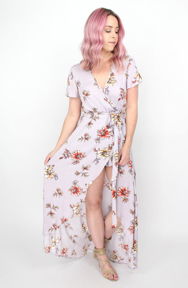 S / Lilac Lilac Floral Wrap Maxi Dress - Madison + Mallory