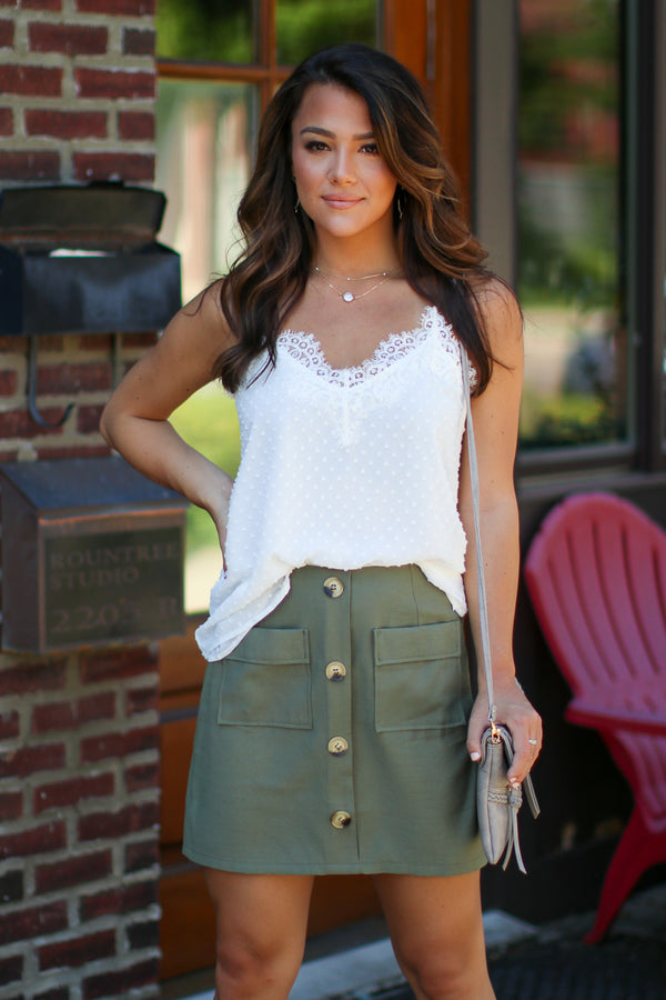 Laylah Button Down Skirt - Olive - FINAL SALE - Madison + Mallory
