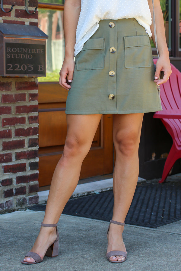 Olive / S Laylah Button Down Skirt - Olive - FINAL SALE - Madison + Mallory