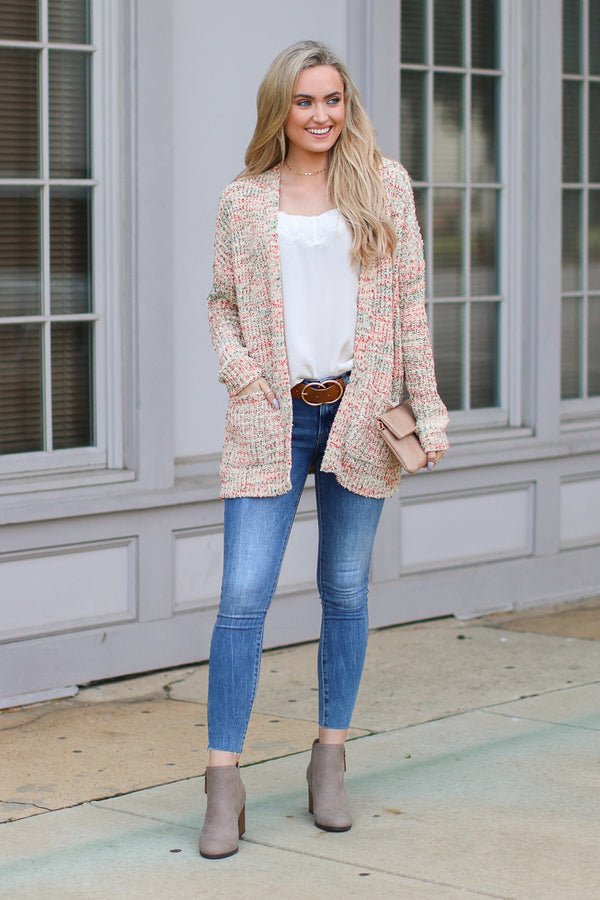 Hazie Multi Color Marled Knit Cardigan - Madison + Mallory