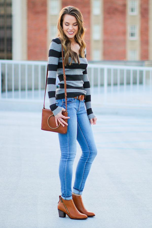Lauri Ribbed Knit Striped Top