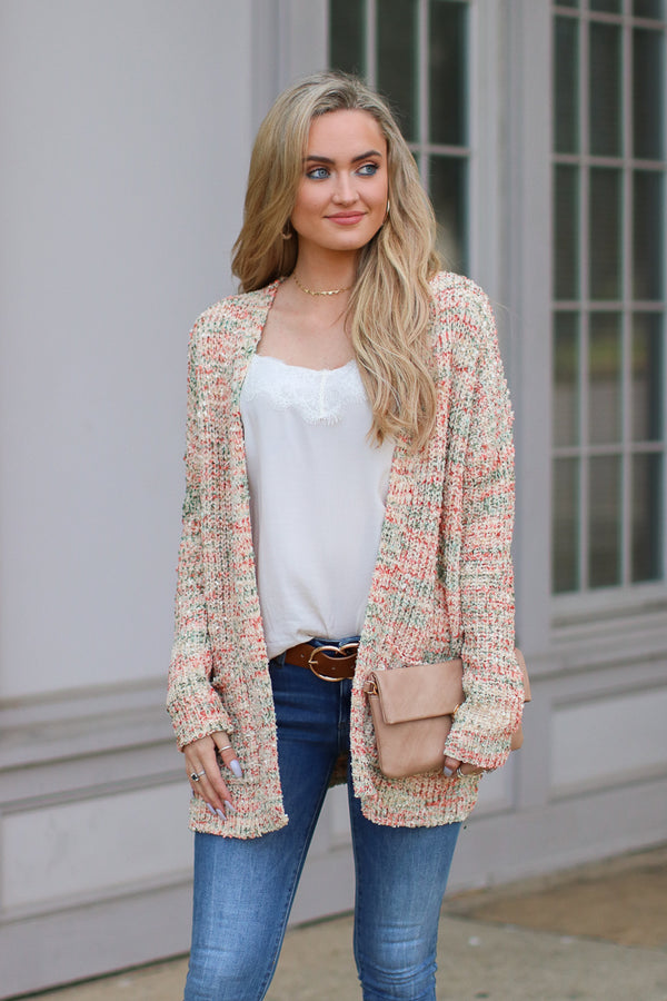 S / Beige Hazie Multi Color Marled Knit Cardigan - Madison + Mallory