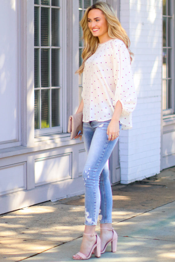 Sweeter by the Hour Polka Dot Top - Madison and Mallory