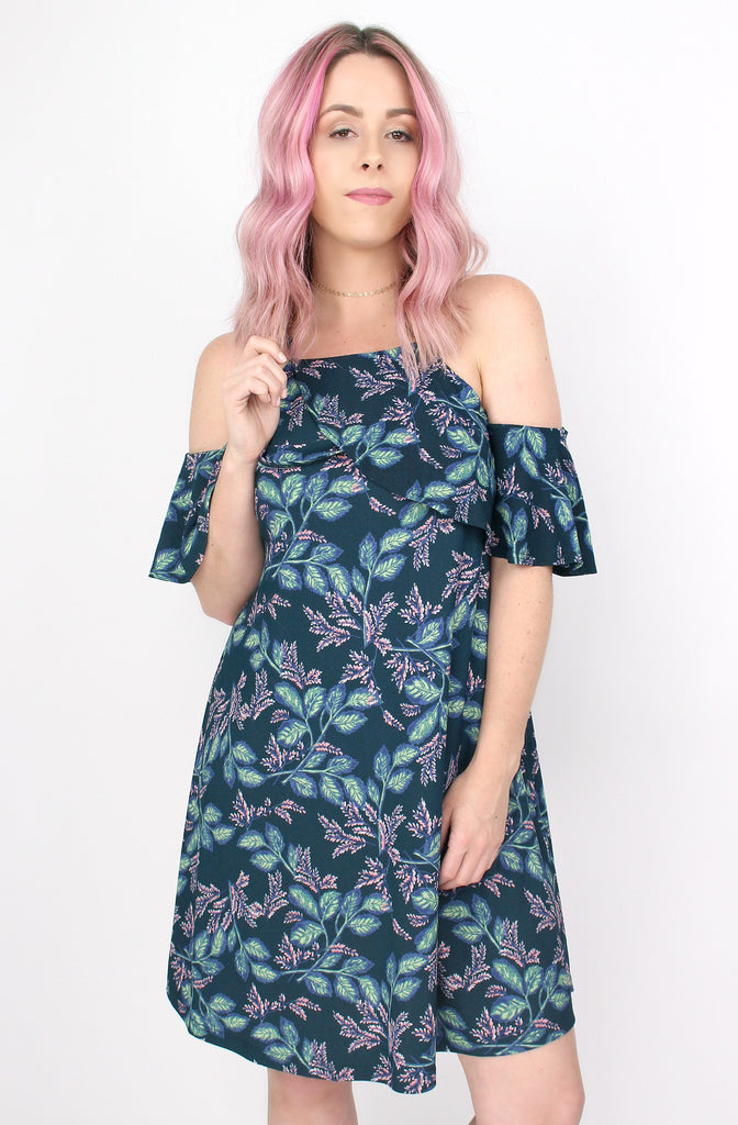 Cold Shoulder Ruffle Floral Dress