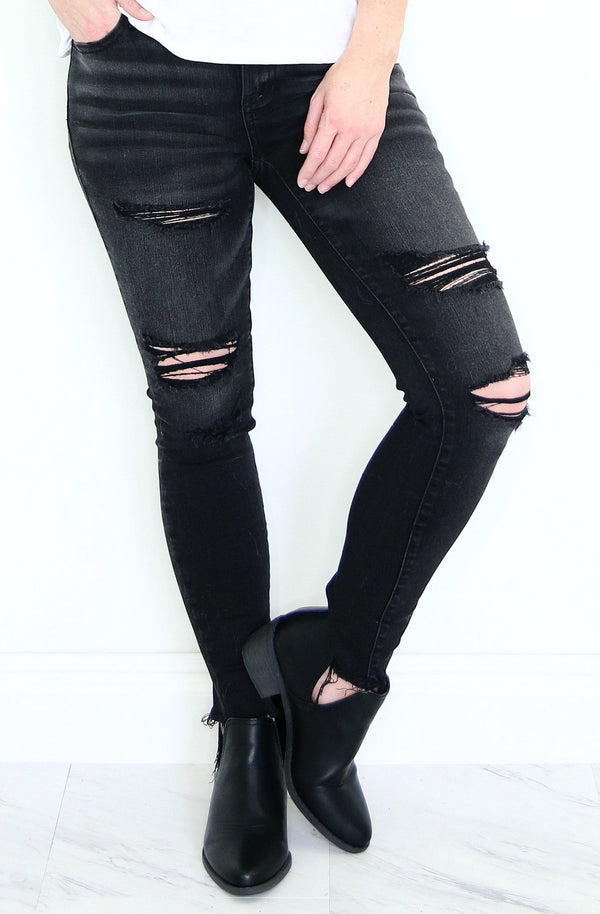1/24 / Black Anna Distressed Jeans - FINAL SALE - Madison + Mallory