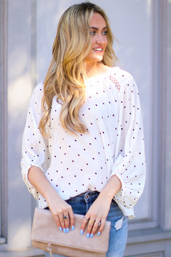 S / Ivory Sweeter by the Hour Polka Dot Top - Madison and Mallory