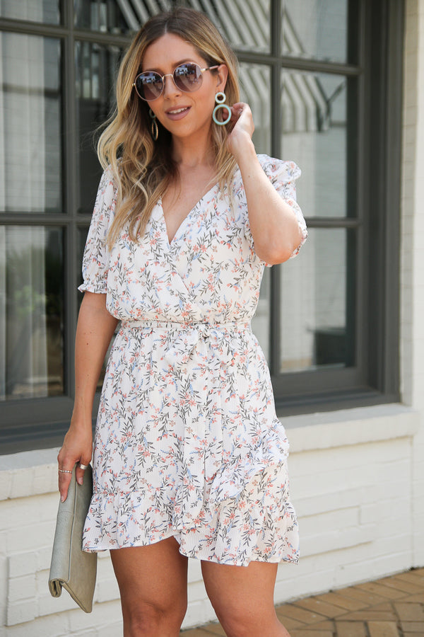 After Sunset Floral Surplice Dress - Madison + Mallory
